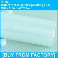 """Plate-making Waterproof Inkjet Film Milky Finish 42""""*30m"""