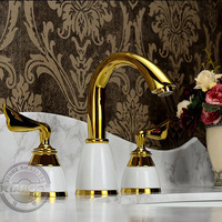 Double handle Gold bathroom basin Faucet.Wing-Shaped 3 hole water faucet.Gold plated bathroom basin sink Mixer Tap GY-607K