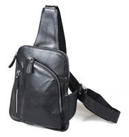 Fashion unbalance one strap backpack crossbody bag handmade black genuine leather bag for men FREE SHIPPING TIDING 30961
