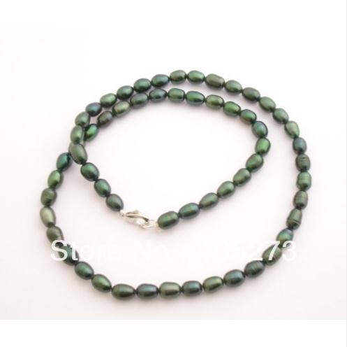 Charme Natural jóia da pérola do pavão verde cor Genuine água doce da pérola do arroz Shaper colar 18 '' 6 - 7 MM novo grátis frete(China (Mainland))