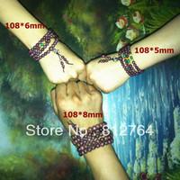 Wholesale 5pcs/lot 108*5mm genuine purpleheart rosewood wood carnelian turquoise beads wrap bracelet Buddhist rosary prayer mala