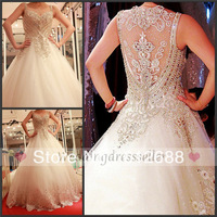 Luxury Wedding Dress 2.5m Back Spaghetti Straps Sweetheart Beaded A-line Appliques Sequins Tiered Train Amazing Wedding Dresses