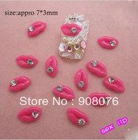 Best Selling!Nail Jewelry Newest Sexy Rhinestone Lips Resin Acrylic Nail Art Decoration 20 packs/lot+Free Shipping