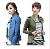 2013 Korean women's double breasted short ladies sweater coat Suit Jacket ES21740 M-XXL