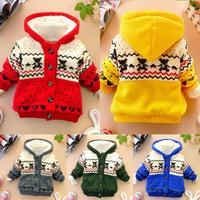 2014 winter Cartoon animal Print Bear cotton coat child coat lamb jackets outwear children baby infants girls clothing hoody