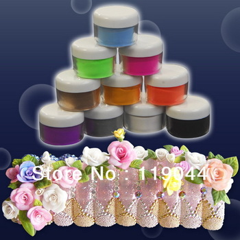 Free shipping 10 Colors Acrylic Powder Nail Art Powder dust Set For Nail French Tips Decoration NA106