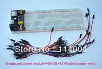 3.3V/5V MB102 Breadboard power module+MB-102 830 points Solderless Prototype Bread board kit +65 Flexible jumper wires wholesale