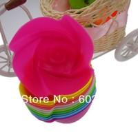 Free Shipping.12PCS/set Rose shape Muffin Sweet Candy Jelly fondant Cake chocolate Mold Silicone mold.