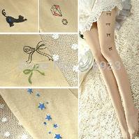 2 pairs Hot Sale Ultra Sheer Pantyhose Tatoo Print Stockings Girl Party Free Ship