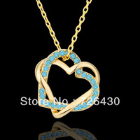 Free Shipping! Gold Plated Blue Rhinestone Double Heart Shaped Pendant Necklace