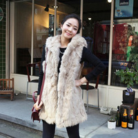 TOP730 Free shipping  Fashion women Faux fur Coat vest High quality Long faux fur coat with Hat