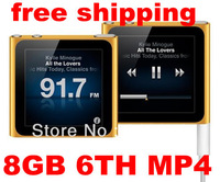 mp4 player  1.8 inch Touch Screen 8GB 6th Gen clip mp4 player 800pc  no retail package & no accessories 7 colours Free shipping
