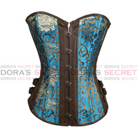 Sexy Women Casual Vintage Blue Floral Leather PVC Lace UP Embroidery Corpet Overbust Waist Training Corsets Bustiers