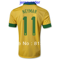 2013 -2014 Thailand Quality soccer jersey Brazil #11 NEYMAR yellow jersey 13/14 Season National team football hot sell
