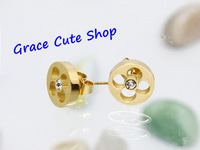 Free Shipping Stainless Steel Stud Earrings With Crystal Designer Jewelry 3 Color Top Quality Package (Dust Bag,Gift Box) #LOE12