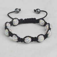Shambala Charm Disco Ball Bead White Bracelet Shambala  Crystal Fashion Jewelry Shamballa FACTORY PRICE  Hot sellFree Shipment