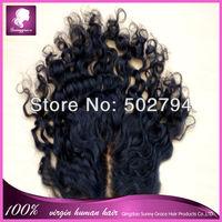 Charming Brazilian virgin loose curly hair top closure brazilian virgin hair  closure virgin  hair lace closure