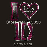 Free Shipping 50pcs/Lot I Love One Direction 1D rhinestone transfers applique design