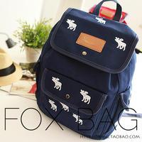 student school bag blue onta print backpack preppy style backpack Superbreak children  travel canvas bag