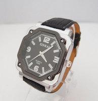 holiday sale Cool Top Quality Square Design Black Leather Watch men fashion Quartz watches QW007-2