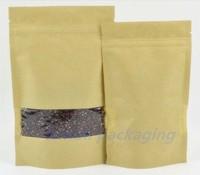 50pcs/lot Free shipping  12*20cm kraft paper stand up zip lock bag with window coffee bag food bag