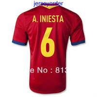 2013 -2014 Thailand Quality soccer jersey Spain 6# A.INIESTA red jersey 13/14 Season National team football hot sell