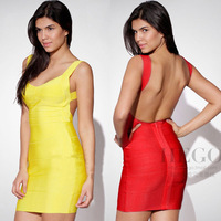 Womens New Sexy Yellow Backless Bandage Dress Bodycon Bandage Dress Party Dress