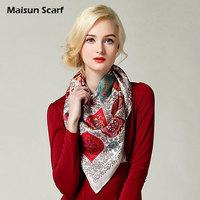 Free shipping  real silk  90x90cm square hijab scarf