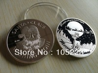 Merry Chrismas Silver Coins 50pcs/lot Free Shipping 1oz SANTA CLAUS  and reindeer Rudoph Bring Wishes Silver Coins