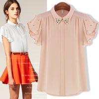 2013 Summer women's fashion formal ruffle sleeve diamond female chiffon shirt Free shipping