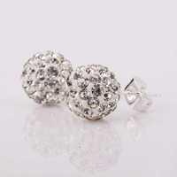 New Style! Free Shipping!10mm Handmade Disco Ball Beads Cute Gift Crystal Shamballa Earring Fasion jewelry Earring SBE025