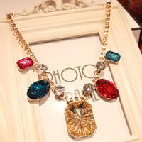 Free Shipping(MOQ 10$ Mix Order)Korean EMODA Rhineston Chunky Pendant Alloy Necklace Wholesale