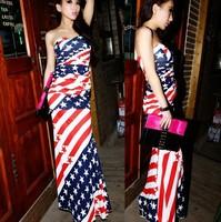 2013 famous brand women dress American flag waist fishtail dress dress mixed colors long evening dress