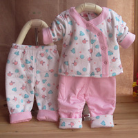 Baby newborn cotton-padded spring and autumn thin wadded jacket piece set cotton-padded jacket baby wadded jacket cotton-padded