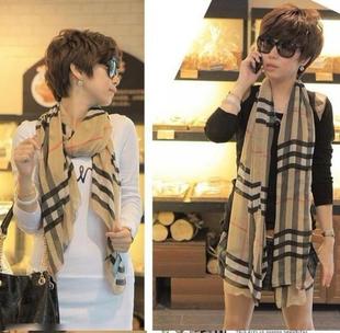 Autumn and winter female scarf plaid scarf cape dual-use ultra long fashion plaid chiffon scarf silk scarf