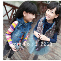 autumn fall 2013 girls fall clothing for Reversible vest,denim vest,kids vest coat,childrens fall clothing