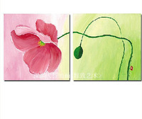 Pink flowers 2 piece canvas wall art abstract canvas art oil paintings the picture hot selling unique gift for home deco