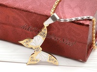 Free Shipping 316L Stainless steel  pendant,fashion butterfly necklace charms,steel necklace pendant with artificial diamond