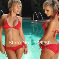 Free Shipping 2013 Sexy Lingerie Bra + T-back Sets Halter Bikini Swimwear & Swimsuit Beach Bikini Dress sexy beachwear
