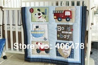 High quality Baby Cartoon Bedding Sets 3pcs quilt+cot bumper+fitted cover Blue vehicles and animals