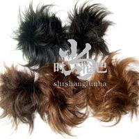 Real hair wig ring hair accessory bud head meatball head wig bag female short hair fluffy hair maker caterpillar