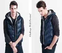 Free shipping new 2014 fashion autumn and winter men down cotton jacket causal men slim fit waistcoat hoodies sweatshirts