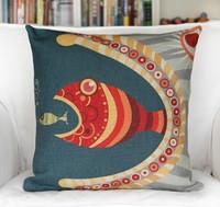 Cartoon Cute Big Fish Eats Fingerling Linen Cotton Cushion Covers Monopoly 1pcs 45 *45cm Wholesale Free Shipping