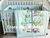 6pcs basic set Cotton Baby Cartoon Bedding Sets happy owls and friends quilt+bumper+fitted sheet