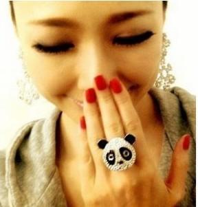 D079 super flash with water brick panda head women jewelry ring(China (Mainland))