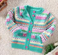 Wholesale 3pcs/lot Kids girls cute Knitted Cardigan Sweater,Girls Crochet warm Coats Outerwear Baby Clothing