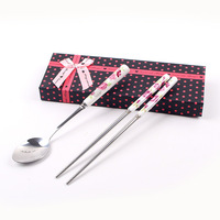 Hot-selling box porcelain handle stainless steel chopsticks spoon twinset gift box gift set tableware