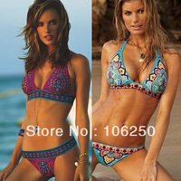 2013 New Sexy Women Bikini Swimwear & Swimsuit Beachwear With Inside Pads Indian Flower Red &Blue Color M L XL Free shipping