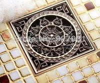 Euro Style Antique Brass  Art Carved Brass Floor Drain Cover Shower Waste Drainer