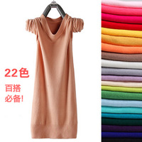 Spring and autumn medium-long o-neck pullover sweater thin slim basic shirt sweater women's sweater
